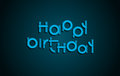 Happy Birthday festive text. Dark background with light blue let Royalty Free Stock Photo