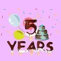 Happy Birthday five 5 year design with number