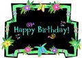 Happy Birthday Frame with Butterflies, Flowers, an Royalty Free Stock Image