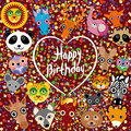 Happy birthday. funny cute animal face on a brown background. H Royalty Free Stock Photo