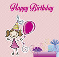 Happy birthday girl over pink background vector illustration Royalty Free Stock Image