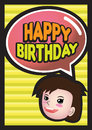 Happy birthday girl vector illustration of a with a speech bubble saying Royalty Free Stock Photo