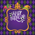 Happy birthday gold frame checkerboard background eps vector stock illustration Stock Photography