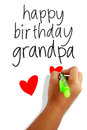Happy birthday grandpa girls hand holding a pen writing greeting card Stock Photos