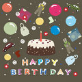 Happy birthday - greeting background for kids Stock Image