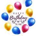 Happy Birthday greeting banner with balloons. Vector