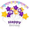 Happy birthday greeting on banner with star shaped balloons