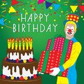 Happy birthday greeting card with big cake candles clown vector illustration