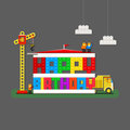 Happy Birthday greeting card with builders, truck and builder cr