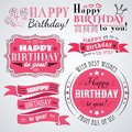 Happy birthday greeting card collection in holiday