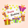 Happy Birthday Greeting Card. Colorful festive background. Royalty Free Stock Photo
