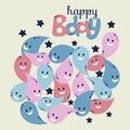 Happy birthday greeting card. Colorful stylish lettering on color drops and black stripes