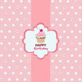 Happy birthday greeting card cupcake Royalty Free Stock Image