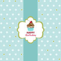 Happy birthday greeting card cupcake Stock Image