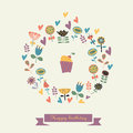 Happy birthday greeting card with cute cupcaka ribbon flowers and hearts Stock Photo