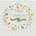 Happy birthday greeting card with cute flowers birds and hearts in cartoon style Stock Images