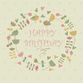 Happy birthday greeting card with cute flowers birds and hearts in cartoon style Stock Photos