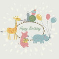 Happy birthday greeting card with cute giraffe snail pig and hippo with balloons in cartoon style Stock Photography