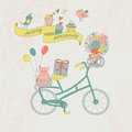 Happy birthday greeting card with cute vintage bicycle cat flower and birds Royalty Free Stock Photography