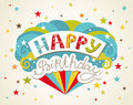 Happy birthday greeting card design vector illustration Royalty Free Stock Photos