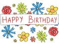Happy birthday greeting card with doodle scrapbook flowers holiday celebration Stock Images