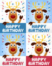 Happy birthday greeting card four versions cute reindeer confetti streamers nice idea kids children birthday party Stock Image