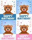 Happy birthday greeting card four versions cute teddy bear confetti streamers nice idea kids children birthday party Royalty Free Stock Image