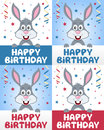 Happy birthday greeting card four versions funny bunny rabbit confetti streamers nice idea kids children birthday party Stock Photography