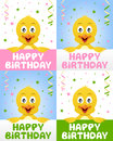 Happy birthday greeting card four versions funny cute chick confetti streamers nice idea kids children birthday party Stock Photo