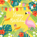 Happy Birthday greeting card, invitation with hand drawn palm leaves, hibiscus flowers, flamingo bird and party flags