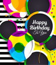 Happy birthday greeting card. Paper balloons with colorful borders. Drops color on background. Vector illustration.