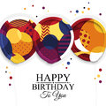 Happy birthday greeting card. Paper balloons with colorful textures. Drops color on background. Vector illustration.