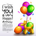 Happy birthday greeting card. Party multicolored balloons, confetti and stilish lettering. Vector.