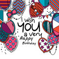Happy birthday greeting card. Patterned balloons with stars, polka dots Royalty Free Stock Photo