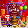 Happy birthday greeting card. Pile of colorful wrapped gift boxes. Lots of presents. Party balloons, masquerade, cake Royalty Free Stock Photo