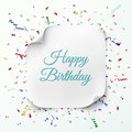 Happy birthday greeting card template realistic curved banner on celebration background with colorful confetti and ribbons vector Stock Photography