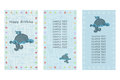 Happy Birthday greeting card. Three different vector patterns. Postcard in blue colors with a blue whale in the ocean. Royalty Free Stock Photo