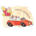 Happy birthday greeting card with two bears in car. Vector.