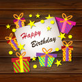 Happy Birthday Greeting Card. Vector colorful festive background. Royalty Free Stock Photo