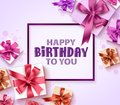 Happy birthday greeting card vector design with colorful gift boxes, ribbons and frame