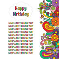 Happy Birthday greeting card. Zen tangle postcard with colorful flowers.