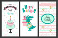 Happy birthday greeting cards and party invitation templates .Vector illustration.