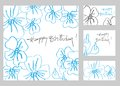 Happy birthday greeting cards set Stock Images