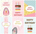 Happy birthday greeting cards templates and party invitations for kids, set of postcards