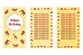Happy Birthday greeting cards. Three different vector patterns in style of a Safari. Card in yellow orange tones with wild animals
