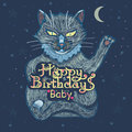 Happy Birthday! Hand inscription lettering with a beautiful cat