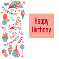 Happy birthday holiday card with baloons, fireworks, stars, sweets, strawberry, flags