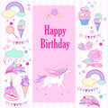 Happy birthday holiday card with flags, rose, unicorn, sweets, strawberry, cloud, fireworks, stars and rainbow