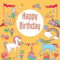 Happy birthday holiday card with rainbow, ice-cream, unicorn, cloud and fireworks on yellow background.