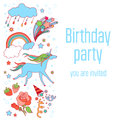 Happy birthday holiday card with stars, fireworks, unicorn, cloud, and rainbow on white background